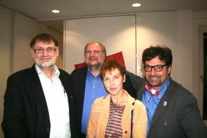 Walter Kubach, Peter Schimke, Sabine Leidig und Diether Dehm (v.L.n.R)