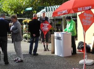 Infostand mit Drachen in Marbach
