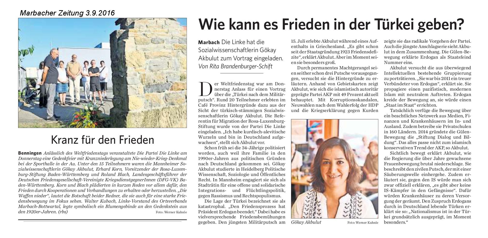 Marbacher Zeitung Antikriegstag 2016